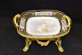 223. Sevres Porcelain Tray In Ormolu Stand |  $922.50