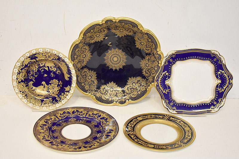 225. 5 Var. Pcs. of Cobalt & Gilt-decorated Porcelain |  $265.50
