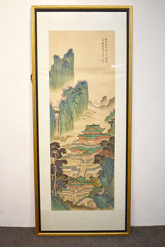232. Asian Watercolor Scroll Painting, Temple Scene |  $47.20