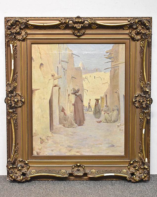 234. Orientalist School. Oil on Canvas, Street Scene |  $123