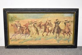 237. Unsigned. Oil/Panel, Cowboys on Horseback |  $492