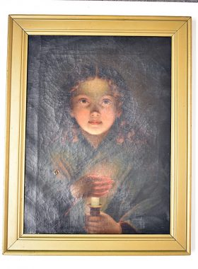 241. Unsigned. Oil/Canvas, Girl with Candle |  $123