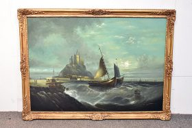 243. Unsigned. Oil/Canvas, Seascape with Castle |  $36.90