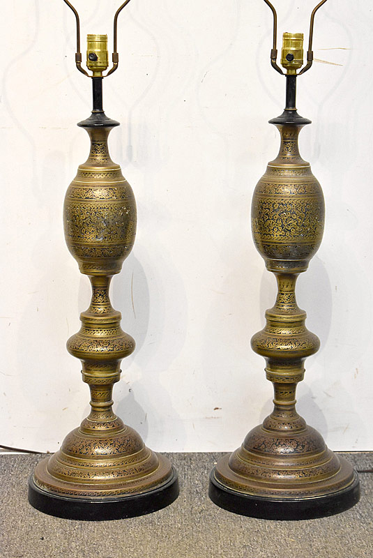 249. Pair of Indian Decorated Brass Table Lamps |  $61.50