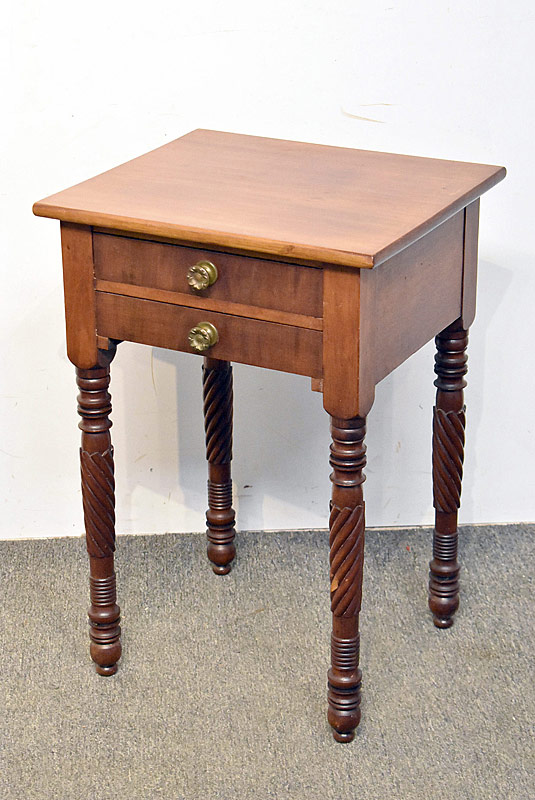 254. Two-drawer Walnut Work Table on Turned Legs |  $47.20