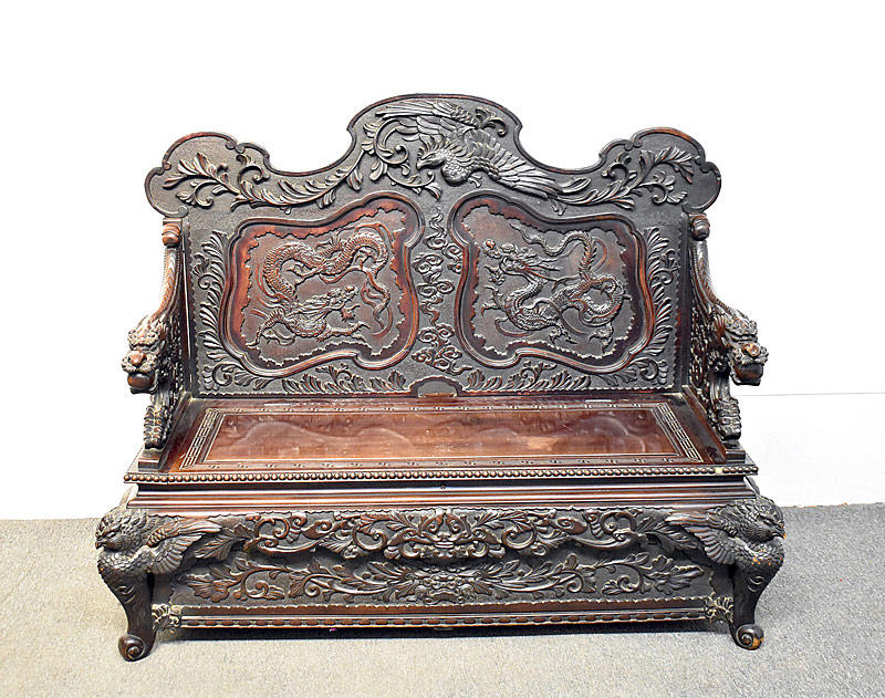 272. Japanese Meiji Carved Hall Bench |  $676.50