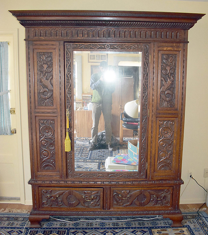 277. 19th Century Carved Oak Armoire |  $246