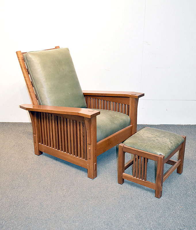 291. Stickley/E.J. Audi Cherry Morris Chair & Ottoman |  $738