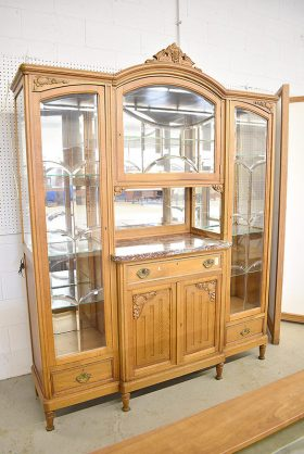 297. French Carved Oak China Cabinet/Buffet |  $246