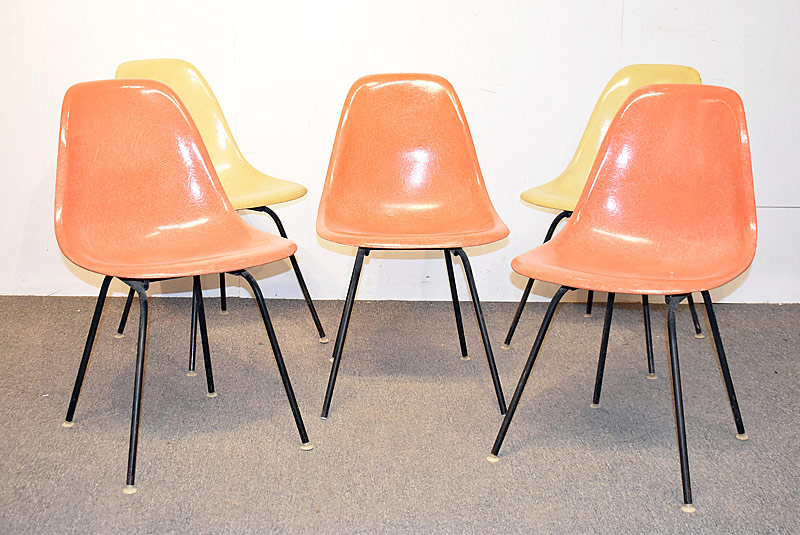 303. Five Eames/Herman Miller Fiberglass Shell Chairs |  $307.50