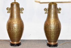 330. Pair of Large Decorator Brass Table Lamps |  $118