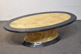 333. Muller\'s Modernist Oval Onyx & Brass Coffee Table |  $35.40