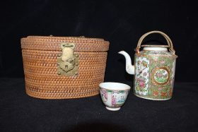 5. Chinese Rose Medallion Teapot & Cup in Basket    $73.80