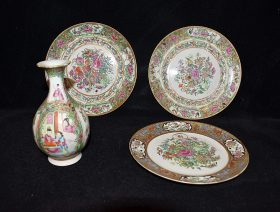 7. Chinese Export Rose Medallion 4-pc. Porcelain Grouping    $153.75
