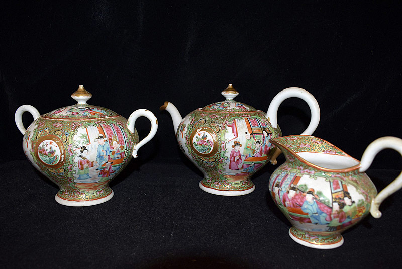 9. Chinese Export Rose Medallion Porcelain Tea Set |  $369
