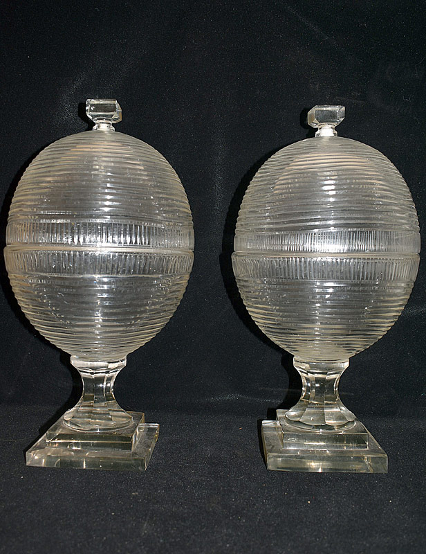 26. Two Ribbed Crystal Apothecary Jars |  $215.25