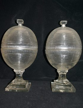 26. Two Ribbed Crystal Apothecary Jars    $215.25