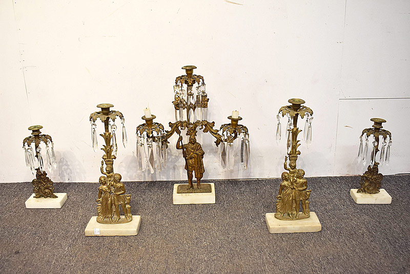 29. Grouping of Five Brass Figural Girandoles |  $49.20
