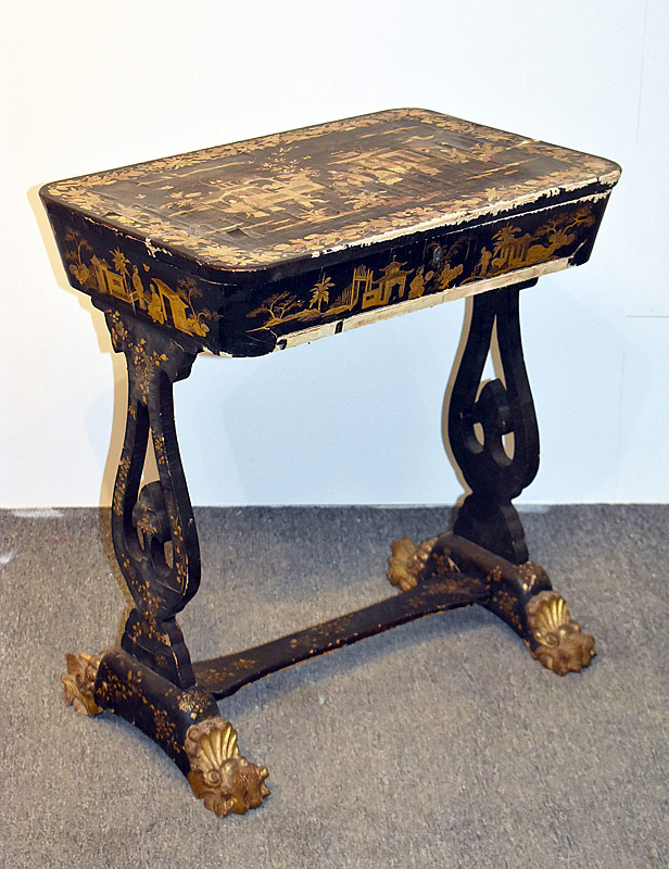 34. Regency Chinoiserie Lacquered Work Table |  $86.10