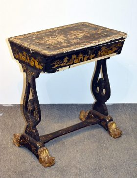 34. Regency Chinoiserie Lacquered Work Table    $86.10
