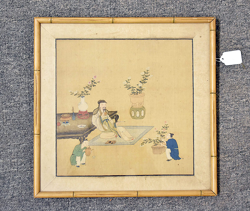 36. Asian Painting on Silk: Interior Scene |  $276.75
