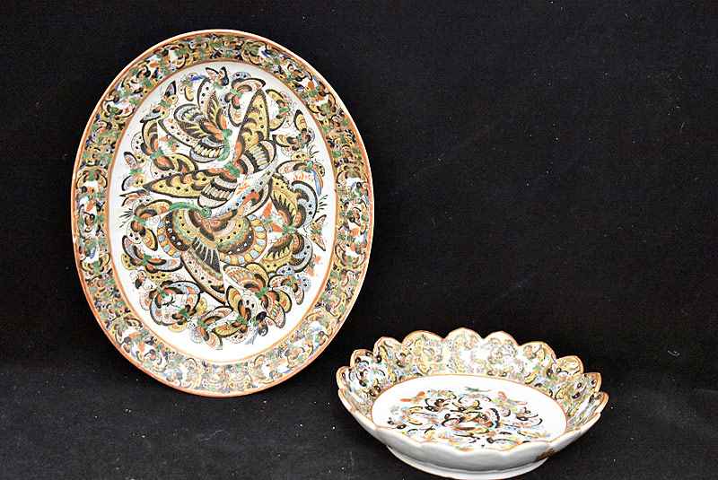 40. Two Chinese Export Thousand Butterfly Dishes |  $153.75