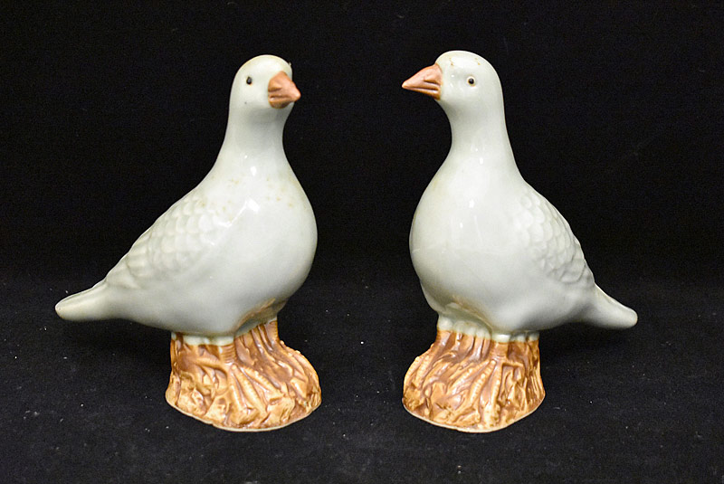 46. Two Chinese Celadon Porcelain Pigeons |  $94.40