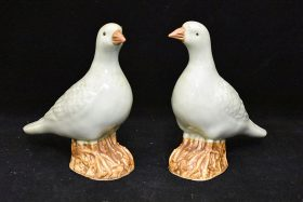 46. Two Chinese Celadon Porcelain Pigeons    $94.40