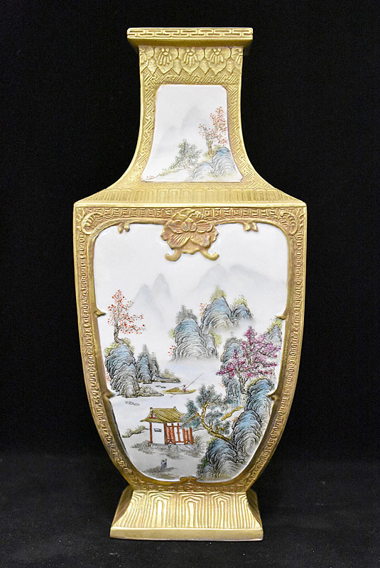 52. Chinese Porcelain Vase with River Panel |  $123.00