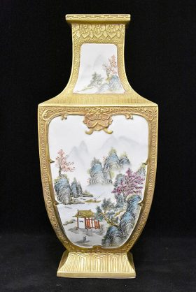 52. Chinese Porcelain Vase with River Panel    $123.00