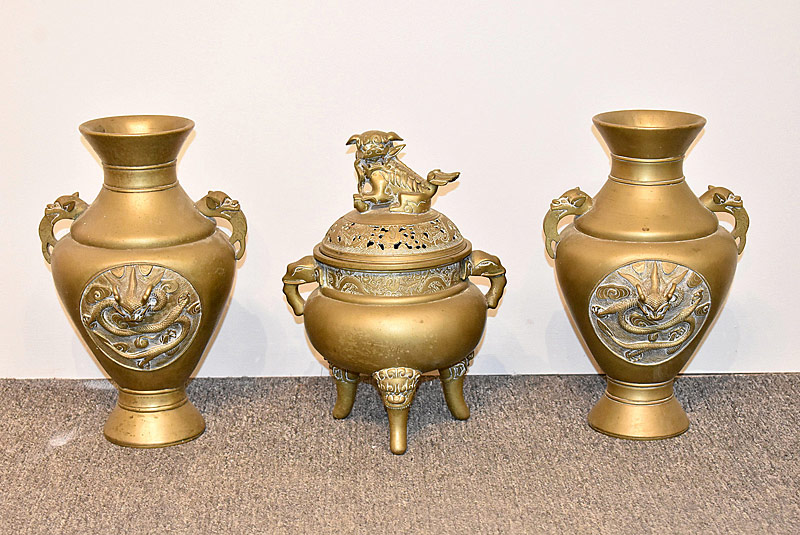 54. Three-piece Chinese Bronze Garniture Set |  $177