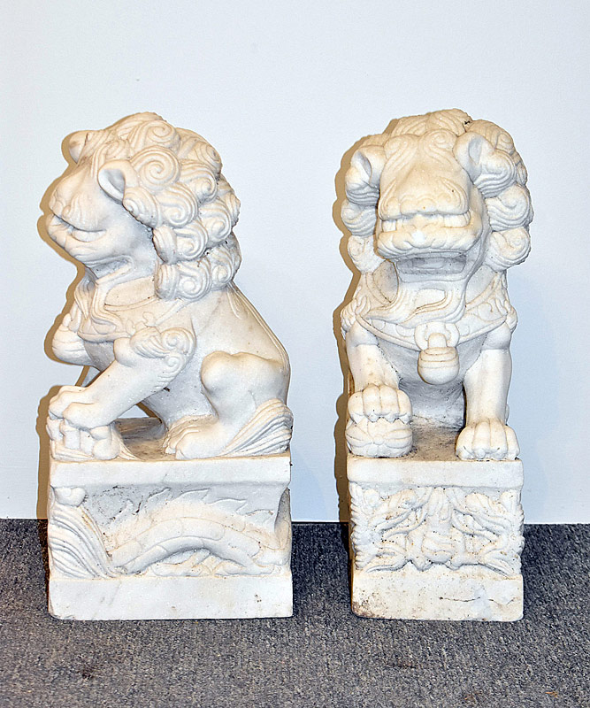 55. Pair of Carved Marble Foo Dogs |  $338.25