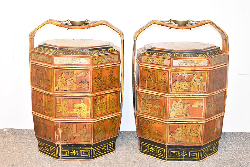 56. Pair of Chinese Lacquered Stacking Wedding Boxes |  $123