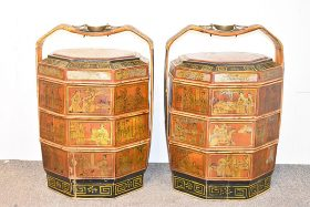 56. Pair of Chinese Lacquered Stacking Wedding Boxes    $123