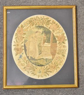 63. 19th C. Silk Embroidery, Shakespeare\'s Tomb    $70.80