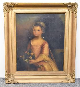 69. 19th C. Oil/Canvas, Portrait of Girl with Flowers    $338.25