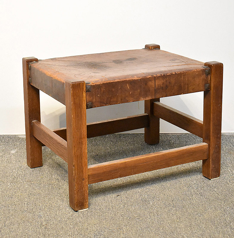 90. Attrib. Gustave Stickley Oak Footstool, #300 |  $307.50