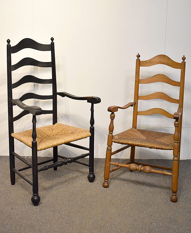 92. Two Antique Ladderback Armchairs |  $118