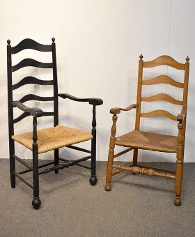 92. Two Antique Ladderback Armchairs    $118