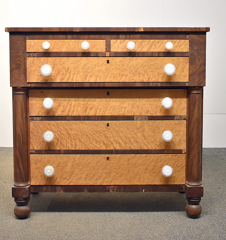 94. American Walnut and Tiger Maple Chest of Drawers |  $324.50
