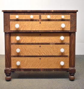 94. American Walnut and Tiger Maple Chest of Drawers    $324.50