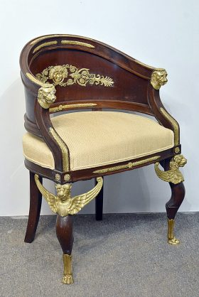 113. French Empire-Style Mahogany & Gilt Bronze Chair    $1,476
