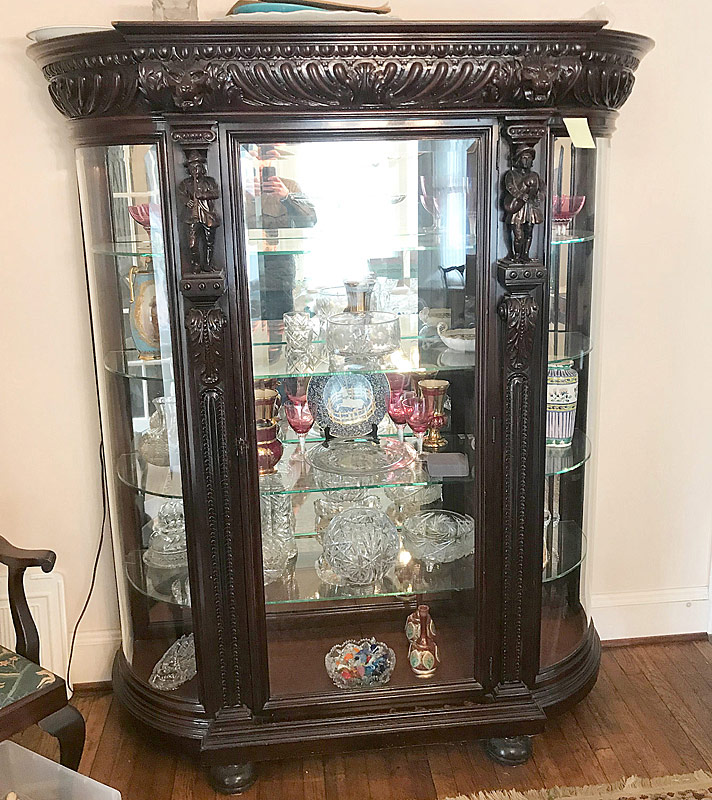 114. Attrb. R.J. Horner Carved Oak Crystal Cabinet |  $1,599