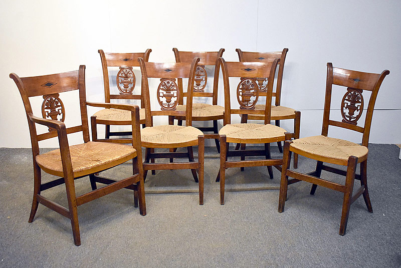 116. Seven French Provincial Carved Dining Chairs |  $215.25