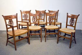 116. Seven French Provincial Carved Dining Chairs    $215.25