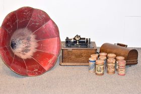 120. Edison Oak-Case Phonograph with Fluted Horn    $369