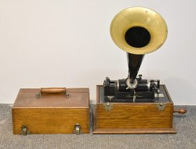 121. Edison Oak-Case Phonograph with Horn    $522.75