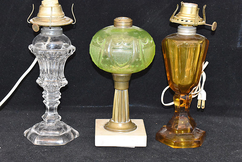 127. Three Antique Oil Lamps |  $35.40