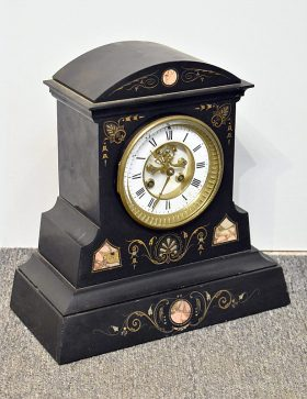 139. Victorian Etched Black Marble Mantle Clock    $206.50