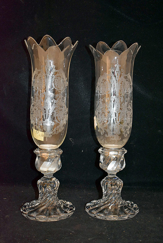 141. Pr. Baccarat Candlesticks with Hurricane Shades |  $430.50